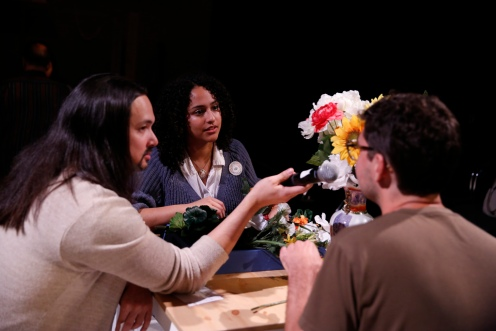 Jono Eiland facilitates a discussion between cast member Stephanie and her Stranger